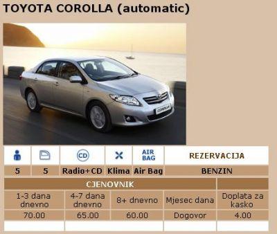 toyota_corolla adut rent-a-car u podgorici, Podgorica