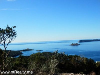 p1130889 lustica-zanjice, plot with views over forts mamula, arza and prevlaka for sale €169,500