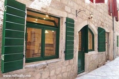 shop exterior, full front sold kotor old town, renovated shop €100,000 sold