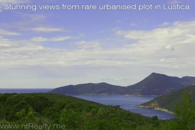 view from the site lustica, zambelici,  development land for sale with stunning views over zanjic bay  €319,500