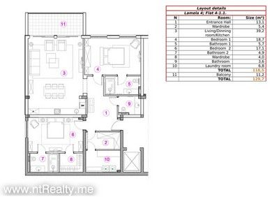 411 doc 1 kotor bay - skaljari, 2 bedroom  with sea view in brand new complex for sale €279,400