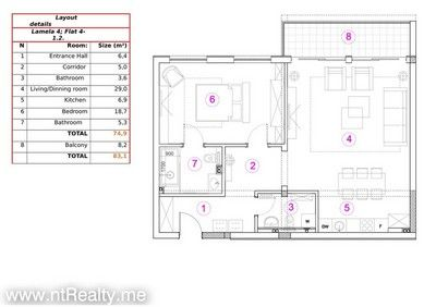 412 doc 1 kotor bay - skaljari, 1 bedroom  in brand new complex for sale €254,200